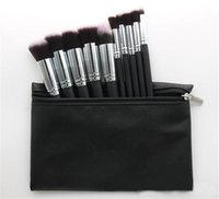 Wholesale set cosmetic pouches resale online - Hot Makeup Professional Brush set Cosmetic Foundation BB Cream Powder Blush pieces Makeup Tools Black White Pink with Pouch DHL