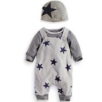 suspensórios 3t venda por atacado-6m a 3 anos Primavera Outono meninos do bebê Meninas conjuntos de manga longa estrela, roupas (chapéu + camisa + calças Suspender), boutique de roupas, R1AA802CS-05