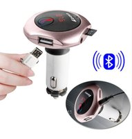 Wholesale Bluetooth Detector - 2016 Q7 Bluetooth car kit Handsfree MP3 Player FM Transmitter Dual USB Car Charger FM Modulator Support U Disk SD Card A2DP Voltage Detector