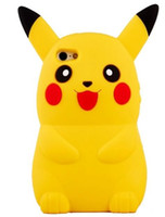 ingrosso cassa di telefono 3d per il iphone 4s-Pokemon Pikachu Caso Pocket Monsters Animal fumetto 3D morbido silicone per iPhone 6 6s 5g 5S SE 4G 4S casse del telefono della copertura del gel