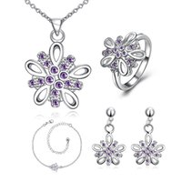 Wholesale 925 China Diamond Earrings - Fashion Dimensional flower 925 silver necklace bracelet earring ring a famliy of four jewelry sets;sterling silver purple gemstone GTFS004A