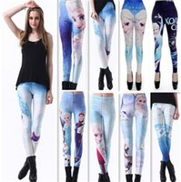 Wholesale Sexy Korean Leggings - Sexy Fashion Womens 2016 Korean style Blended fabrics Digital Printing Frozen Workout Leggings Yoga Gym Fitness Running feet pants 50
