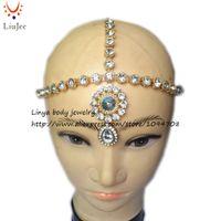 Wholesale Bollywood Wedding - Handmade Kundan Stone Head Chain Indian Bollywood Matha Patti Tikka Jhumr Head Piece Wedding Bridal Maang Tikka 309