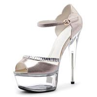 Wholesale Korean Princess Photo - 15 cm super high heels South Korean princess glitter bright eye crystal sandals fashion runway photo big yards of shoes