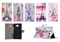 Wholesale Paris Id - Retro Paris Eiffel Tower Flower Flip Wallet PU Leather Case With ID Slots For Samsung Galaxy S7 Edge A3 A5 A7 2016 A310 A510 A710 Note 5