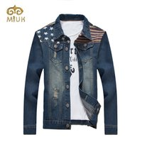 Wholesale jaqueta jeans masculina - Wholesale- MIUK Denim Casual Turn-down Plus Size 3XL Plus Size Single Breasted Jeans Jaqueta Masculina Short Jacket for Men