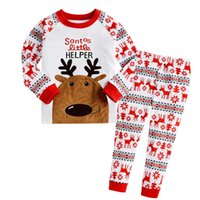 Wholesale Girls Christmas Pjs - 2017 Baby Boys Girls Christmas Pajamas Kids Long Sleeve Xmas PJS Cotton Pajamas Children Autumn Clothing Set Free Shipping