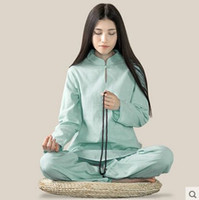 Wholesale Tai Chi Cotton Pants - Wholesale-bamboo Cotton and linen yoga meditation Women long sleeve yoga clothes Tai chi suit