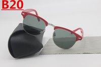 Wholesale Red Definition - 1pcs brand designer high definition circular glass lenses retro sunglasses fashion men's high quality uv400 SUNGLASSES