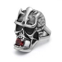 Wholesale Crystal Skulls For Sale - Fashion Japan Jewelry Samurai Skull Stainless Steel Rings Hot Sale New 2017 Custom Charm Red Crystal Gemstone Rings For Men Hip Hop Jewelry