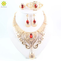 Wholesale Vintage Wedding Costume Jewelry - New Arrival Elegant Fashion Dubai Gold Plated Vintage Women Nigerian Crystal Jewelry Sets African Beads Jewellery Costume