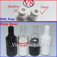 Wholesale Herbal Deep - DHL Free Deep Bowls Huge Vapor Full Ceramic Glass Wax Atomizer Donut wickless Coils Herbal Pyrex Vaporizer 22mm Atomizer 510 ecigs vape pen