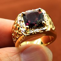 Wholesale Cluster Solitaire Rings - Men's 18K Yellow Gold Filled Square Purple Amethyst Stone Solitaire Woven Ring for Men Size 8, 9, 10