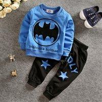 Wholesale Batman Baby - Baby Batman outfits with pants Cartoon children outfits Batman leisure suit 2pcs set Batman casual suits sports suits for kids A111