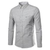 grande taille robes coréennes achat en gros de-Coréenne Hommes D'affaires Chemises Hommes Manches Longues Chemises Chemise Coton Chemise Hommes Chemise Plus La Taille Slim Fit Homme