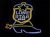 Wholesale Place Boots - New Lone Star Boot Handicrafted Real Glass Tube Neon Light Beer Lager Bar Pub Sign Optional size