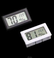 termómetros interiores al por mayor-Mini Digital LCD Termómetro integrado Higrómetro Temperatura Medidor de humedad Termómetro interior Negro Blanco