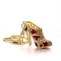 Wholesale shoe holder for rings for sale - Women Crystal High Heeled Rhinestone Keychain Purse Pendant Bags Cars Shoe Ring Holder Chains Key Rings For Women Gifts KDR29