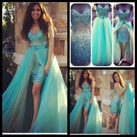 Wholesale turquoise short dress piece - Sexy Sweetheart Turquoise Short Prom Dresses with Detachable Train 2016 Fashionable Beaded Crystals High Low Party Gown