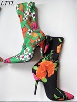 2017 New Women Socks Botas de tornozelo Extreme Pointed Toe High Heels Velvet / Lace Botas Fashion Week Designer Botas Mulheres