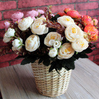 Wholesale Single Rose Decoration - 9 Heads Single Rose Artificial Flower Fake Flower Colourful Roses for Christmas Birthday Motherday Party Home Decoration 93 - 1007B