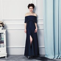Wholesale light blue short strapless dress resale online - Long Elegant Prom Dresses Vestido Longo Festa Strapless Sexy Split Dark Blue Lace Evening Dresses