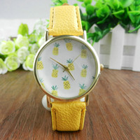 Wholesale Color Geneva New Style Fashion - Tropical Fruit Watch Vintage Style Leather Ananas Geneva Watches Fashion Summer Women Dress Wrist Watches Wholesales 4Colors
