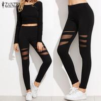 Wholesale Plus Size Mesh Leggings - Wholesale- New 2017 ZANZEA Women Leggings Summer Casual Fitness High Waist Pants Sexy Mesh Workout Insert Black Slim Trousers Plus Size