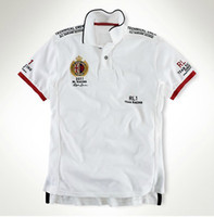 Wholesale Sport Pony - Great Britain White RL1 Racing Team Polo Sports T-Shirts Cotton Embroidery Big Pony Brand Short Sleeve Shirts Italy USA Mens Tops