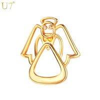 Wholesale Clothes For Women China - unique New Cute Brooches Women Accessories For Clothes Bag Wholesale 18K Real Gold Platinum Plated Lovely Angle Brooches Pin B107