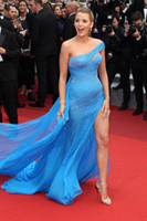 ünlü kırmızı halı elbisesi canlı blake toptan satış-Cannes Film Festivali Ünlü Elbiseleri Blake Lively Boncuk Balo Abiye Uzun Mermaid Kırmızı Halı Bir Omuz Şifon Bölünmüş Abiye