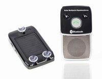 kit carro sem fio bluetooth solar venda por atacado-Sem fio Bluetooth 4.0 Handsfree Car Kit Speakerphone Carregador Solar 10 m de Distância Suporte 2 Telefones Speaker