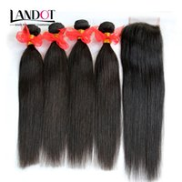 Wholesale Mix Length 5pcs - 5Pcs Lot Brazilian Straight Virgin Hair Weaves With Lace Closure Unprocessed Human Hair 4 Bundles And Closures Free Middle 3 Part Closure