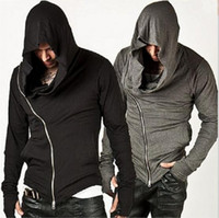 Wholesale Cheap Gray Hoodies - 2016 Europ New Men Oblique Zipper Outdoor Sports Hoodies Fashion Loose Hooded Jacket Men Cheap Hoodies Assassin Creed Jacket