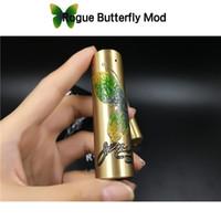 kelebek elektroniği toptan satış-Rogue Kelebek Mod Mech Elektronik Sigara Pirinç Renk Güzel Kelebek Tasarım Fit ile 18650 Pil 510 RDA DHL Ücretsiz