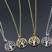 Vintage Tree of Life Pendentif Colliers Antique Argent Or Plaqué Charm Collier Peace Trees Sweater Chain Fine Jewelry Cadeau de Noël A214