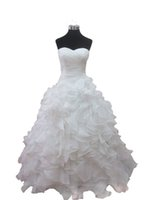Wholesale Tiered Lace Fabric - Free Shipping Wedding Dresses Ruffles Sweetheart neck Ball Gown Wedding Party Gowns Robe de Soiree Organza Fabric