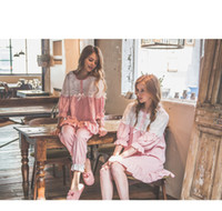 Wholesale Sexy Girls Nightgown - Women's Sleepwear South Korean Women's Underwear Girl Cotton And Linen Lace Nightgown Lovely Leisure Long-Sleeved 20160439