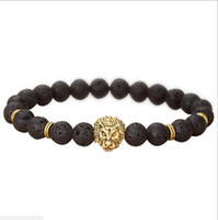 Wholesale indian stone beads - JLN Natural Lava volcanic Buddha Leo Lion Head Bracelet Black Lava Stone Bead Bracelets Men Women Jewelry Rope Chain Strand Bracelet