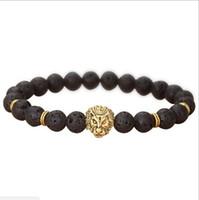 jóias de buda para mulheres venda por atacado-JLN Natural Lava / vulcânica Buddha Leo Lion Head Pulseira preta Lava Pedra Bead pulseiras homens mulheres pendant Cadeia Rope Strand Pulseira