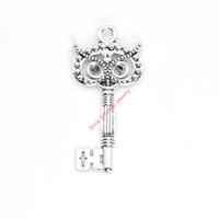 Wholesale Owl Key Pendant - 4pcs Antique Silver Plated Owl Key Charms Pendants for Bracelet Jewelry Making DIY Necklace Craft 60x30mm