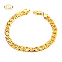 Wholesale Real Gold Bracelet Men - 18K Real Gold Plated Bracelet Men Jewelry New Trendy 6 MM Wide 22cm length Men gold Chain