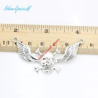Wholesale Wings Connectors - 5pcs Antique Silver Plated 1-1 Skull Wings Connectors Pendant Making Findings Accessories DIY Handmade Craft 58x32mm