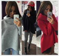 Wholesale Cotton Wide Shawls - rregular Shawl Collar T-shirt high collar sweater Women