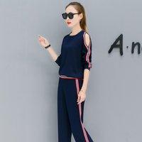 Wholesale Korean Suits Shoulder Women - Autumn Suit Korean Fashion Dew Shoulder Two-Piece Long-Sleeved Round Collar Sweatshirt Pants Clothing Set Casual Plus Size S-XXL