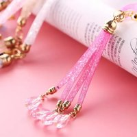 Wholesale Cell Phone Strap Rhinestones - 40cm Luxury Bling Phone Lanyard Straps Fashion Diamond Shiny Cell Phone Charms Colorful Jewelry Rhinestone Long Neck ID Card Mobile Chain