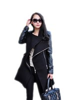 Wholesale Trench Manteau Femme - Autumn Winter Spliced Pu Leather Sleeves Long Coat Female Slim Patchwork Trench Women Manteau Femme Casacos WCB0011