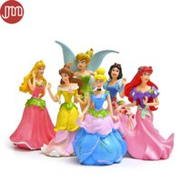 Wholesale Snow White Cake - New 6pcs Princess Toys Snow White Cinderella Jasmine Ariel Flower Fairy Tinker Bell Anime Figure Baby Dolls Kid Gift Cake Topper