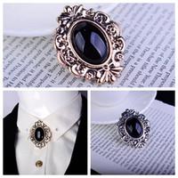 botões onyx venda por atacado-Barroco palácio estilo retro padrão embutidos ônix preto broche de broche de pedras preciosas masculino e feminino camisa colarinho botão terno