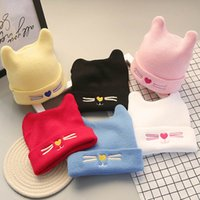 Bonnet cat Prix-Cute Kitty Cat broderie tricoté chapeaux Newborn Girls Boys Nursery Beanie Hôpital Casquettes Toddler Baby Cotton Soft Kids Infant Candy Chapeau de couleur